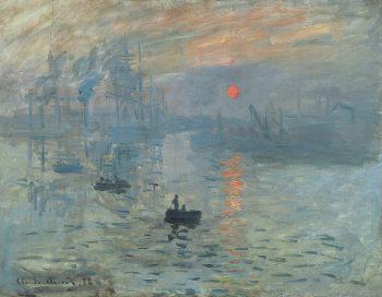 Claude Monet, Impression, soleil levant (Impression, Sunrise), 1872, oil on canvas, Musée Marmottan Monet, Paris, , Public domain, via Wikimedia Commons Impressionist